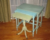 Chic and Shabby Blues and Greens Nesting Tables / End Tables / Nightstand