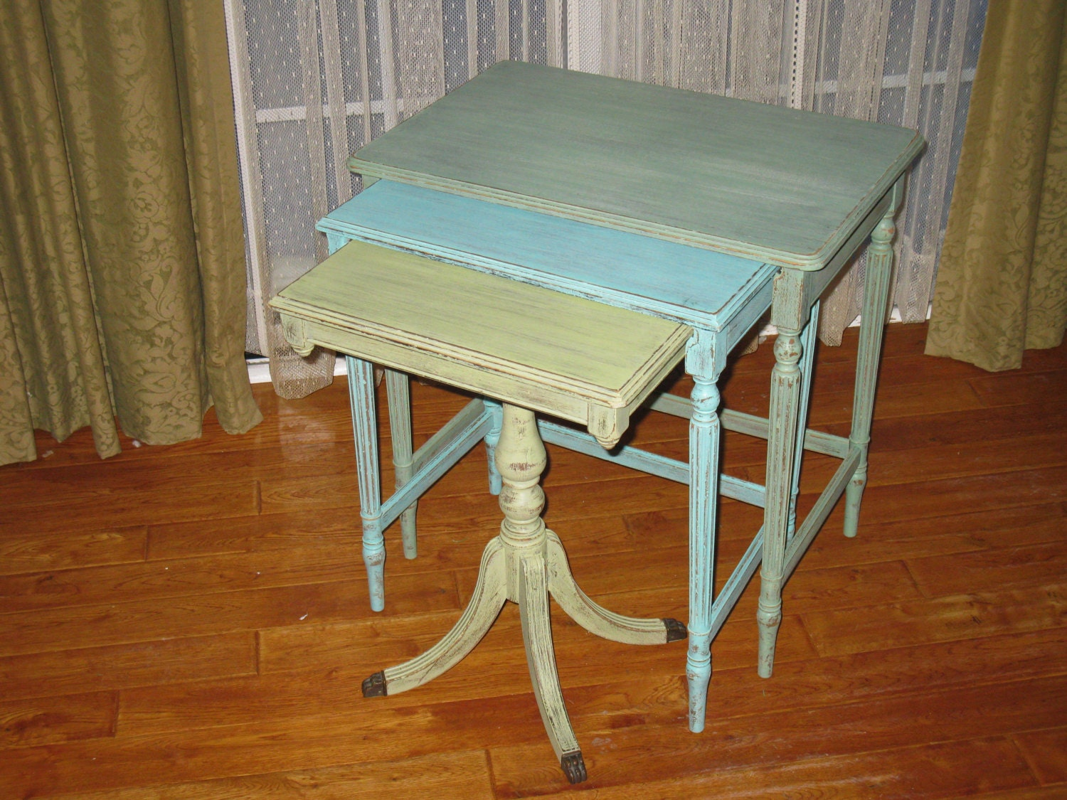 And Shabby Blues And Greens Nesting Tables / End Tables / Nightstand. Full resolution  image, nominally Width 1500 Height 1125 pixels, image with #783E16.