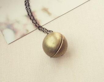 Vintage Sphere Ball Locket. Raw Brass Antique Pendant. Simple Minimal Jewelry