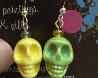 Lemon and Lime Ceramic Bead Earrings
