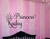 Princess Crown Wall Decal Girl Name Decals Baby Nursery Bedroom Custom Vinyl Lettering Stars Kids Children
