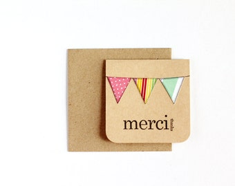 BULK 24 Thank You, Merci Cards, CHOOSE White or Kraft, Assorted Bunting, Hand Stamped, 3x3 Inch Heavy Card Stock