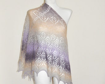 Purple Hand Knit Shawl, Hand Knit Purple Shawl, Ombre Knit Shawl, Beige and Purple Knit Shawl, Evening Stole