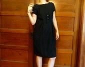 SALE--20% OFF Listing Price--Cocktails Forever! Black short sleeve cocktail dress Vintage 50s