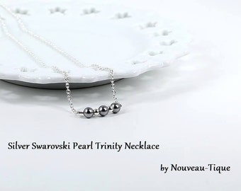 As seen on Jane the Virgin Necklace Silver Swarovski Pearl Trinity Necklace Minimal Chic Pearl Necklace