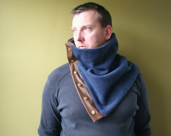 SALE Blue wool cowl with snaps, faux leather and wool, gift idea for him and for her