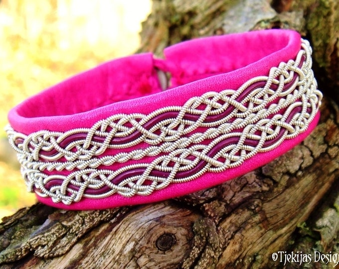 Viking Sami Bracelet RAVEN Custom Handmade Cerise Reindeer Leather with Pewter and Magenta leather cord braids - Nordic Tribal Jewelry