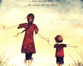 """Mother and son, """"You are my son, my moon, and my stars"""""""