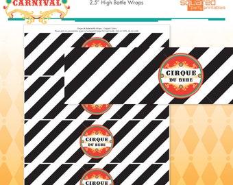Circus Baby Shower Printable Water Bottle Labels - Cirque du Bebe Drink Wraps Original Colors - DIY Print Do-It-Yourself - Instant Download