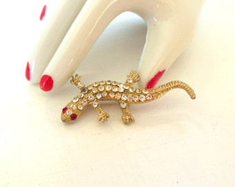 Vintage Rhinestone Lizard Gold 50's (item 235)