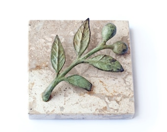 Marble PaperWeight with Verdigris Bronze Olive Twig, Greek Paper Weight Goddess Athena Symbol, Office Decor Desk Accessories