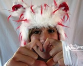 Fuzzy Aviator hat, WhiteRed SPIKES hat, Kitty says Hellow            lining, Red White fur, earflap fur hat, raverwear, Burning Man