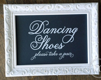 Dancing Shoes Wedding Sign - Flip Flops Basket Sign Tag -Wedding Reception Signage - Matching Numbers Avail -Rustic Cursive, White Ink SS05