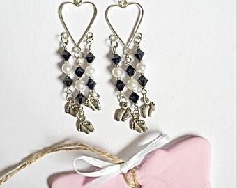 Heart Chandelier Earrings - Dangly Bead Earrings - Baby Feet Charms - SALE