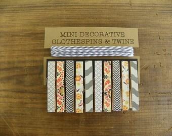Mini Clothespins with Grey Twine. Shades of Grey. Black Chevron. Orange Flowers. Card holder. Photo clothesline. Kids art display.