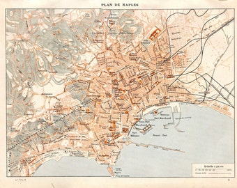 Naples Vintage City Map, Italy, Street Plan, 1923