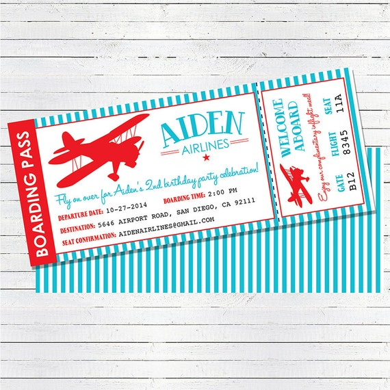 Airplane Ticket Boarding Pass Birthday Invitation: Airplane Birthday Invitation Airplane Ticket Invitation