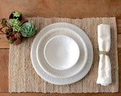 Stoneware Dinnerware - Creamy White - Dinner Plate, Salad Plate, Soup Bowl - One Place Setting - Dot Design Dinnerware - Made to Order