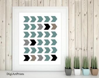 Geometric Art Print, Chevron, Black and White Art, Modern Wall Decor, Minimalistic, arrows, Sante Fe