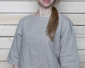 Pure Linen Blouse/Top Boatneck and 3/4 Sleeves