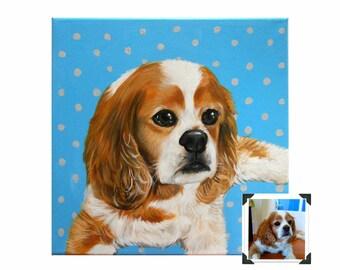 Custom Dog Portrait / Custom Pet Portrait - 1 Pet - Close-UpPolka Dot background (12x12x0.75inch)