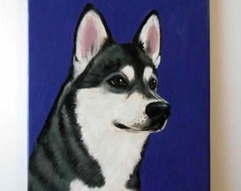 "Custom Dog Portrait / Custom Pet Portrait / Custom Portrait 1 Pet Close-Up Solid background (11x14x0.75"") Original Painting Pet Memorial"