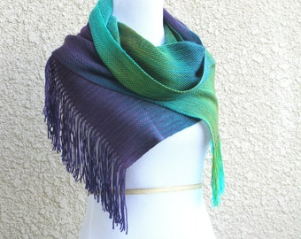 Luxury gift for her, woven scarf, pashmina scarf in green purple turquoise peacock, gift for her, gift for him, long scarf with fringe