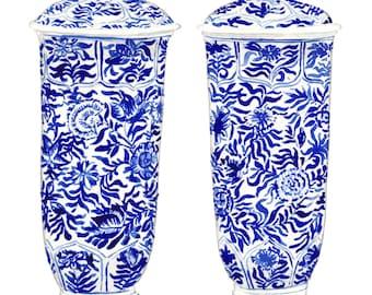 Blue and White Ginger Jar Vases - Original Watercolor 8 x 10 - Cobalt Home Decor Porcelain Chinoiserie Chinese Antique Ceramics Ming Vase