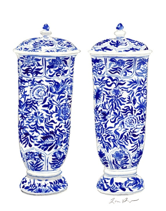 Blue and White China Ginger Jar Vases - Giclee Print of Watercolor Painting - Cobalt Porcelain Chinoiserie Chinese Ceramics Ming Vase