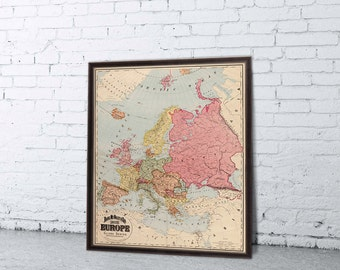 Europe map  - Old map of Europe  - Giclee fine art - Large map - Wall map poster