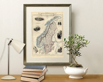 Map of Sweden, Map of Norway - Antique map print - Vintage map fine reproduction