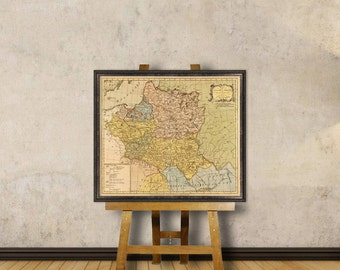 Map of Poland - Old map restored  - Poland map fine print for wall decoration
