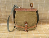 Vintage 1970's Swiss Army Green Canvas Belt Pouch Bag