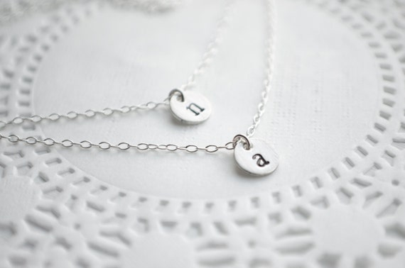 "Double Layer Initial Necklace | Dainty Two Initials | Sterling Silver | 2 Chains, Tiny 1/4"" Discs Tags, Personalized with Birthstone Crystal"