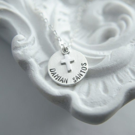 Cross Necklace - Sterling Silver - Engraved Name