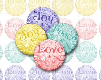 Peace Love Joy Bottlecap Images for Pendants, Cabochons / Printable Digital Collage 1-Inch Circles / Swirly pastels / Instant Download