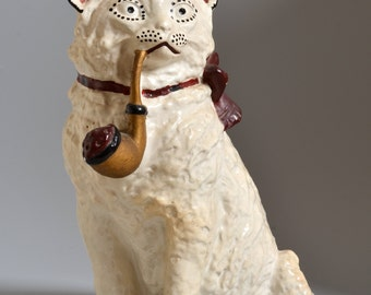 """Early Vintage 10""""H Chalkware CAT, coin Bank, Pipe smoking, Painted Plaster Figurine"""