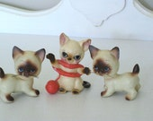 Vintage Figurines - Set of 3 Porcelain Siamese Cat/Kittens -  1950's  - Japan - Lego - Retro Kitten Figurines