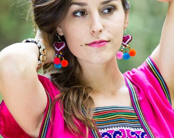 Hmong HEART Earring /Accessories /Ethnic /Embroidery /Colorful /Tribal /Wholesale