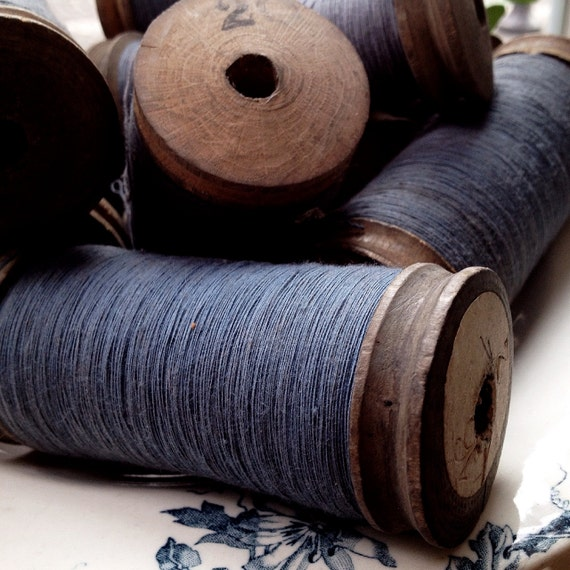 Vintage Spools Wooden Bobbins Blue Thread and Ochre Thread 1920s