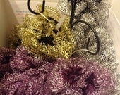 Ruffle Scarf, Knit, Starbella Lace, Eclipse, Silver White, Jackpot, Light Gold, Thistle, Purple