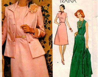 Vintage Uncut TEAL TRAINA Vogue Americana Pattern 1185 - Half-Size Jacket & Dress - Size 14.5