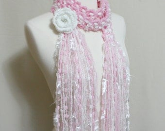 Crochet Scarf, Unique Crochet Multicolor Light Pink White Flower Scarf