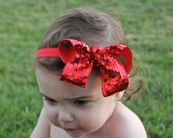Limited Valentines Headband - Red Valentines Bow - Red Sequin Bow Headband