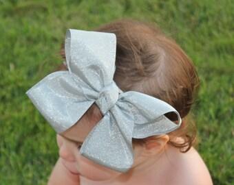 Silver Baby Headband - Silver Bow Headband - Silver Headband