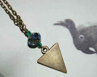 Triangle Necklace, Geometric Necklace, Bronze Triangle Pendant, Czech Crystal Bead, Arrow Pendant, Geometric Jewelry, Bronze Triangle Charm