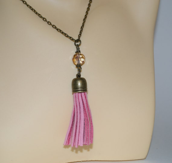 Pink Tassel Necklace, Layering Necklace, Pink Boho Jewelry, Long Tassel, Long Necklace, Pink Boho Necklace, Pastel Pink, Boho Tassel Jewelry