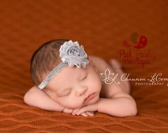 Silver Baby Headband - Gold Headband - Silver Baby Hairbow - Infant Headband - Birthday Headband -headband baby -Baby bows - Sparkle Bow