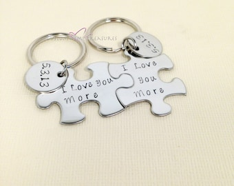 Engagement gift, wedding gift, I love you love you more keychains, couples Keychains for bride groom with date, couples gift for him her