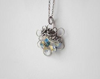Silver snowflake necklace, Swarovski crystal, crystal necklace, crystal pendant,